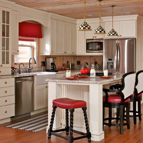 Cabin Life, red and cream kitchen, Mackenzie Childs