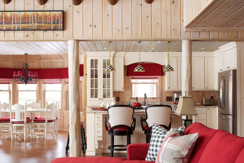 Cabin Life, red and cream kitchen, Mackenzie Childs