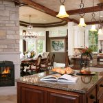 classical, traditional kitchen, dark wood, fireplace