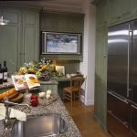 At the Cottage, green cabinetry