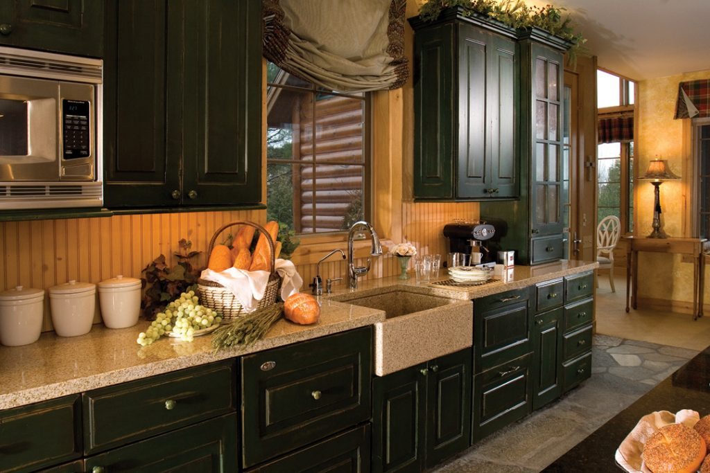 country kitchen, dark green