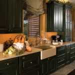 country kitchen, dark green