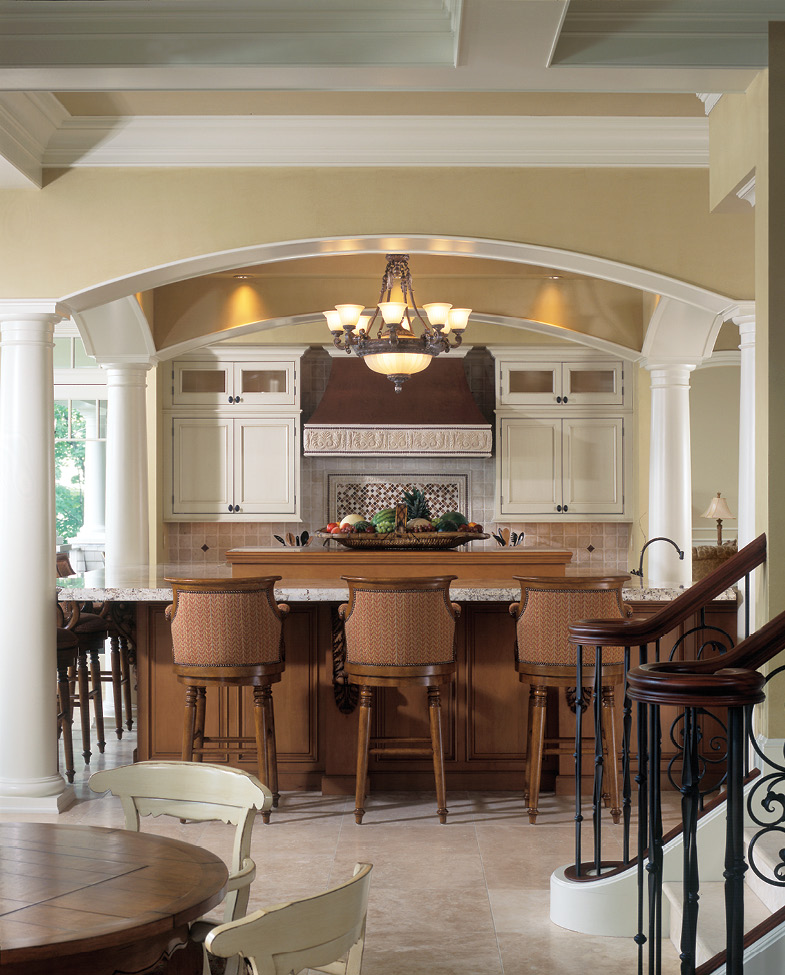 traditional kitchen, arch